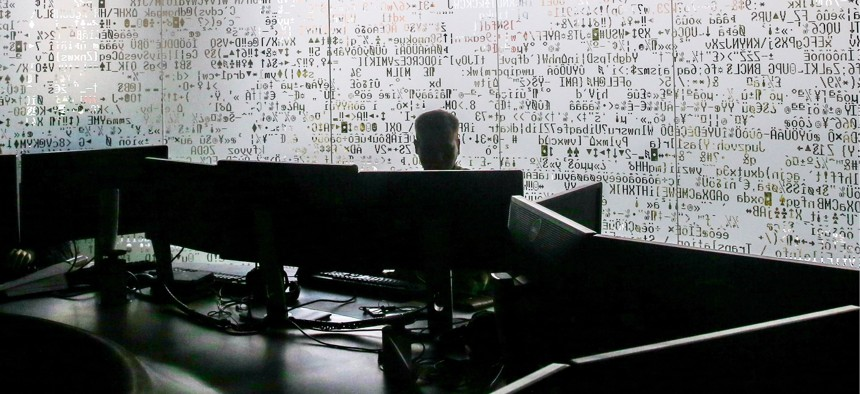 An employee at the Russian cybersecurity company Kaspersky Lab headquarters.