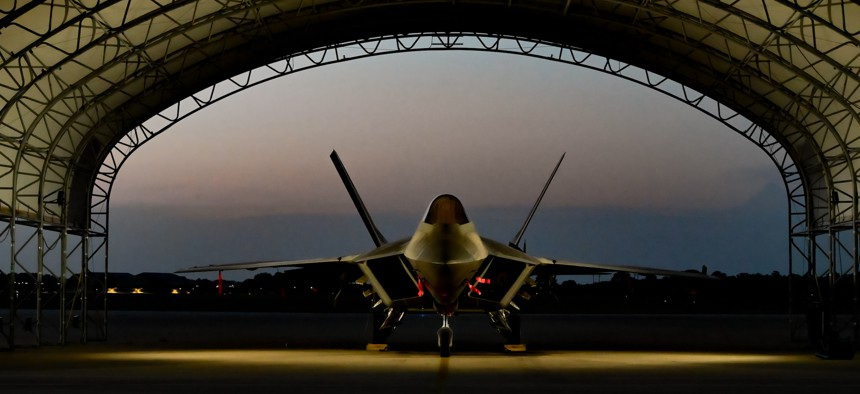 F-22 Raptors assigned to the 94th Fighter squadron United States Air Force 1st Operations Group, sit on the flight line at Joint Base Langley-Eustis, Virginia, Sept. 3, 2020.
