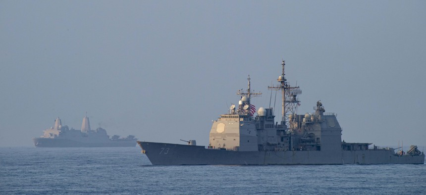 The Ticonderoga-class guided-missile cruiser USS Port Royal (CG 73) in the South China Sea April 9, 2021.