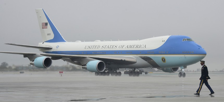 Air Force One lands in Los Angeles, California on March 13, 2018.