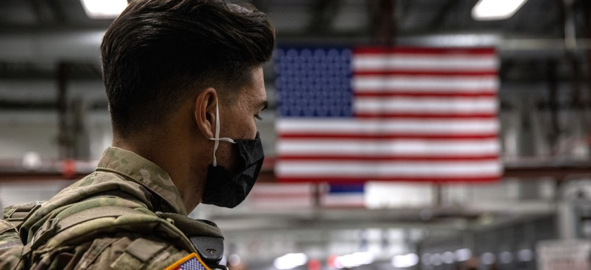 U.S. Army soldier on December 8, 2020, in Fort Drum, New York.