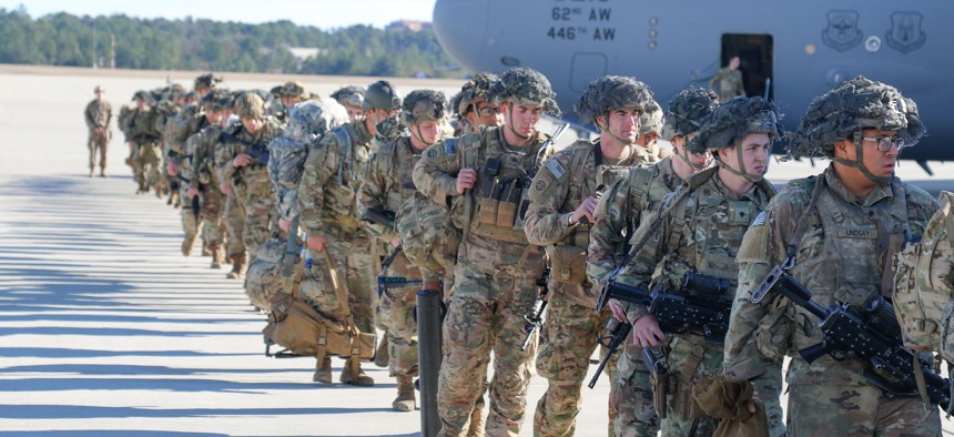 U.S. Army paratroopers deploy from Pope Army Airfield, North Carolina, on January 1, 2020.
