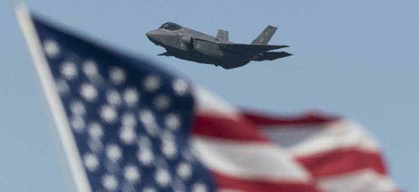 U.S. Air Force F-35 Lightning flies over the San Francisco Bay in San Francisco, California, October 13, 2019.