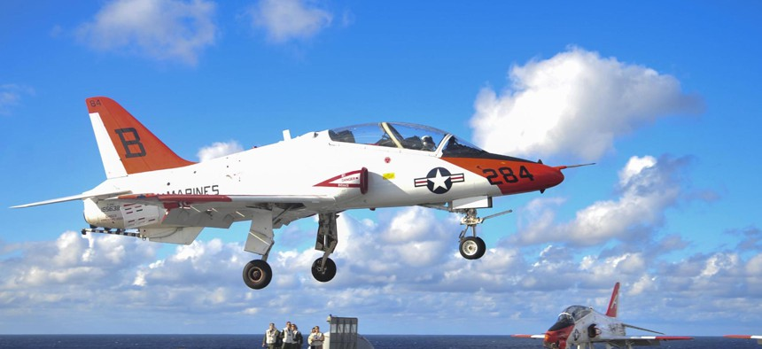 A T-45C Goshawk on the flight deck of the aircraft carrier USS George Washington in 2016.