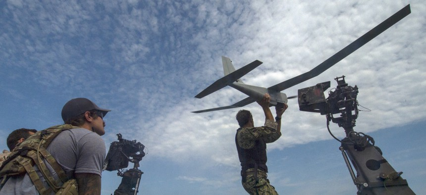 Navy Special Warfare Combatant-Craft Crewmen from Naval Special Warfare launch an unmanned aerial system June 20, 2019, during a patrol on the Black Sea.