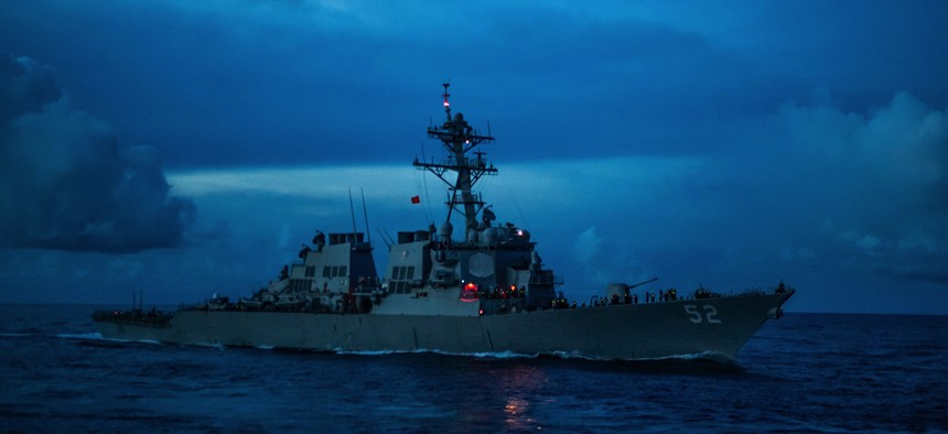 The Pentagon's 2022 budget request reportedly drops one Arleigh Burke-class guided-missile destroyer, like USS Barry (DDG 52), which operated in the Pacific Ocean last September.