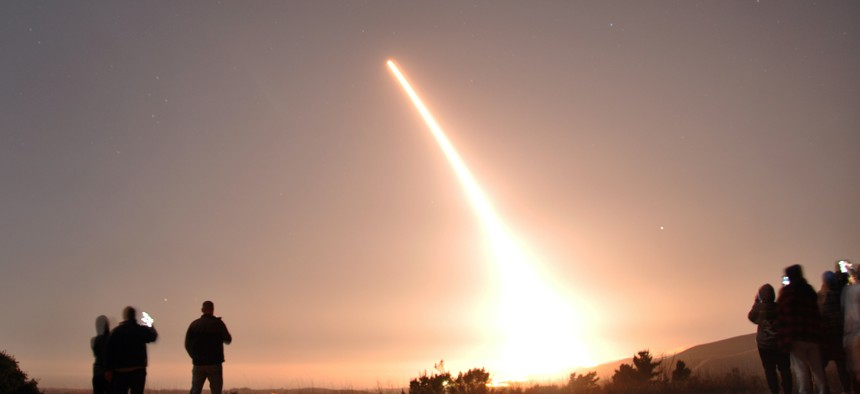 An unarmed Minuteman III intercontinental ballistic missile launches during an operational test Oct. 29, 2020, at Vandenberg Air Force Base, California.