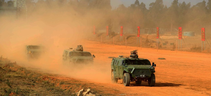 Troops with the People's Liberation Army Ground Force attend a drill on January 2021 in China's Yunnan Province.