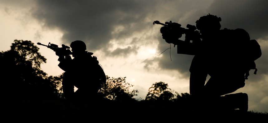 U.S. Soldiers assigned to Charlie Company, 1st Battalion, 21st Infantry Regiment participate in a blank-fire rehearsal.