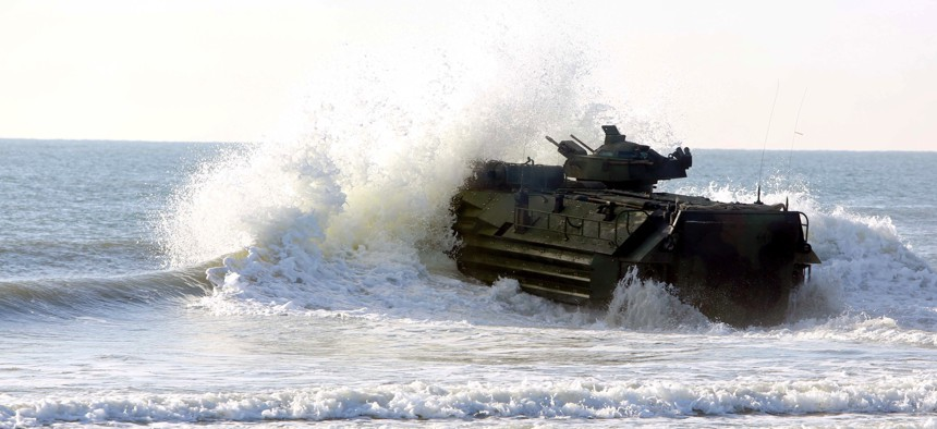 An Assault Amphibious Vehicle operates at Camp Lejeune, N.C., in 2017.