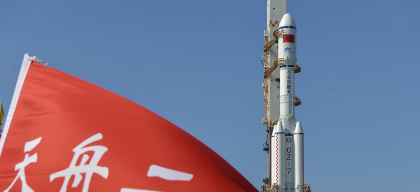 The combination of the Tianzhou-2 cargo spacecraft and the Long March-7 Y3 carrier rocket moves to the launching area of the Wenchang Spacecraft Launch Site on May 16, 2021.