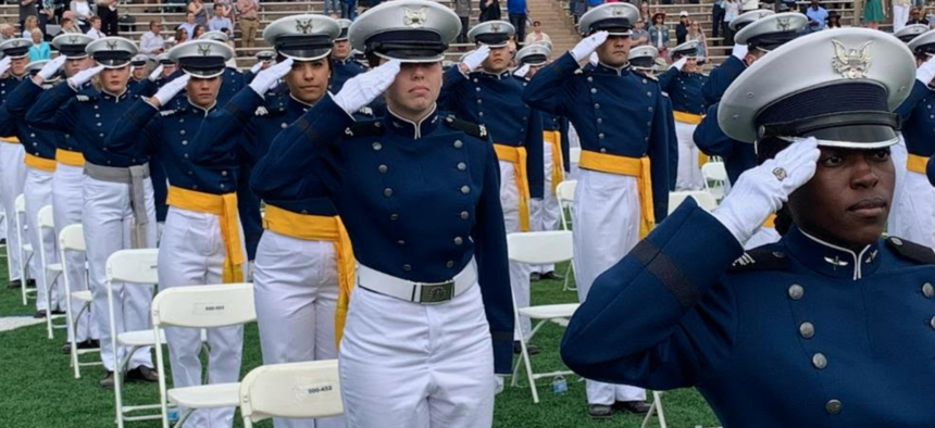 Cadets at the 2021 Air Force Academy graduation ceremony in Colorado Springs.