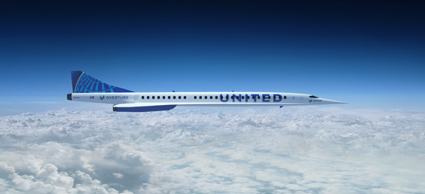 United Airlines illustration of its planned supersonic aircraft.