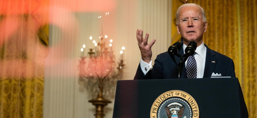 President Joe Biden delivers remarks stressing the United States' commitment to NATO, during a virtual event hosted by the Munich Security Conference on February 19, 2021.