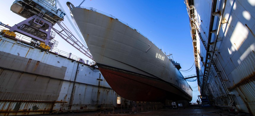 The littoral combat ship USS Detroit in drydock at BAE Systems' shipyard in Jacksonville, Florida, in 2019.