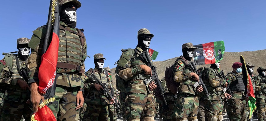 Afghan special force commando unit officers and soldiers attend a graduation ceremony at the military academy in Kabul, Afghanistan, on May 31, 2021.