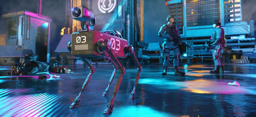 Concept of near future when robot dogs are used to assist police forces on assignments. The robot dog in the image has a camera mounted on top of the body.
