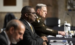 From left, Under Secretary of Defense Michael McCord, Secretary of Defense Lloyd Austin III, and Chairman of The Joint Chiefs Of Staff General Mark Milley prepare to testify during the Senate Armed Services Committee hearing on the Defense Authorization Request for fiscal year 2022 on Thursday, June 10, 2021.