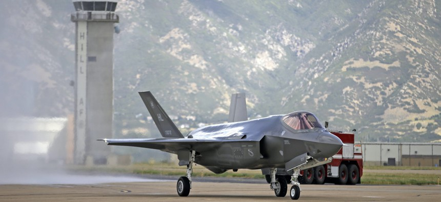 An F-35 jet arrives at Hill Air Force Base in Utah, Sept. 2, 2015.
