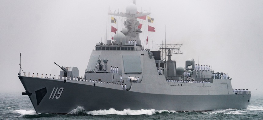 The Project 052D destroyer Giuyang of China's People's Liberation Army Navy in the Yellow Sea in 2019.