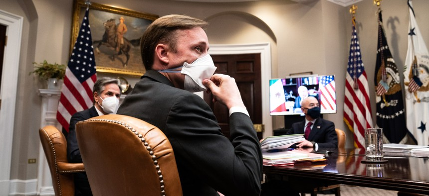 National Security Advisor Jake Sullivan listens during a virtual meeting with U.S. President Joe Biden and Mexican President Andrés Manuel López Obrador in the Roosevelt Room of the White House on March 1, 2021 in Washington, D.C.