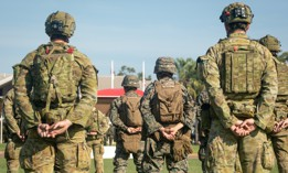 U.S. Marines, Australian soldiers and Japanese Self-Defense Force members come together to commemorate an official opening ceremony for the beginning of exercise Southern Jackaroo, June 15, 2021.