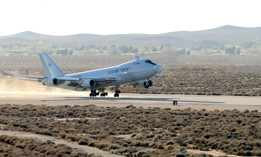 The YAL-1A Airborne Laser, a modified Boeing 747-400F, takes off from Edwards Air Force Base, Calif., on March 15, 2020, for a five-hour test mission.