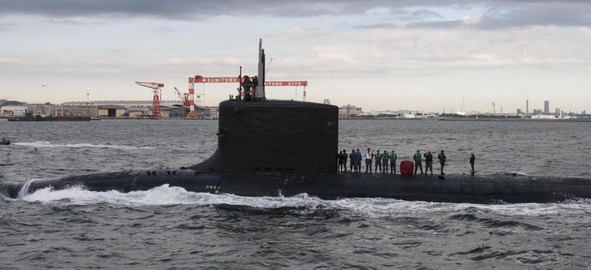 The Virginia-class fast-attack submarine USS Texas (SSN 775) transits Tokyo Bay before arriving at Fleet Activities Yokosuka in December 2015.