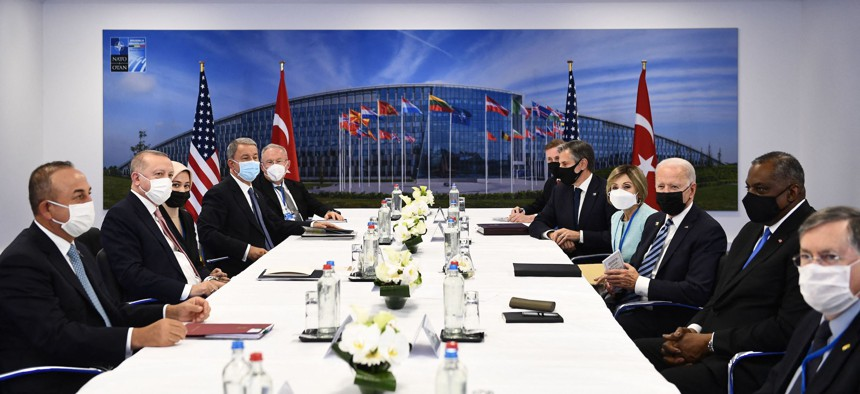 NATO leaders attend a bilateral meeting on the sidelines of the NATO summit at the North Atlantic Treaty Organization (NATO) headquarters in Brussels on June 14, 2021.