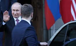 Russia's President Vladimir Putin gets in the car after a summit with US President Joe Biden at the Villa La Grange.