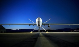 An MQ-9 Reaper sits on the flightline at Creech Air Force Base, Nevada.