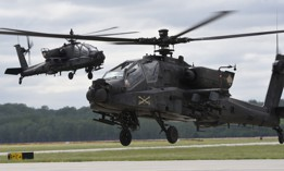 U.S. Army AH-64 Apache helicopters from the 4th Infantry Division's 4th Combat Aviation Brigade used Wright-Patterson Air Force Base, Ohio, as a stopover May 20, 2020.