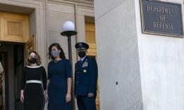 Deputy Secretary of Defense Dr. Kathleen H. Hicks, left, arrives at the Pentagon, Tuesday, Feb. 9, 2021, in Washington.
