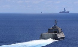 USS Montgomery (LCS 8) sailed near a Panamanian-flagged drillship in the South China Sea last year.
