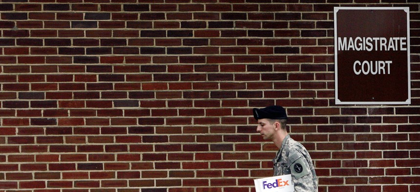 An US Army paralegal departs the Magistrate Court on Fort Meade, Maryland.
