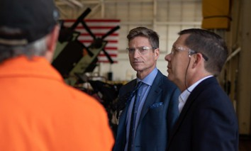 Lockheed Martin CEO Jim Taiclet tours a Sikorsky helicopter factory.
