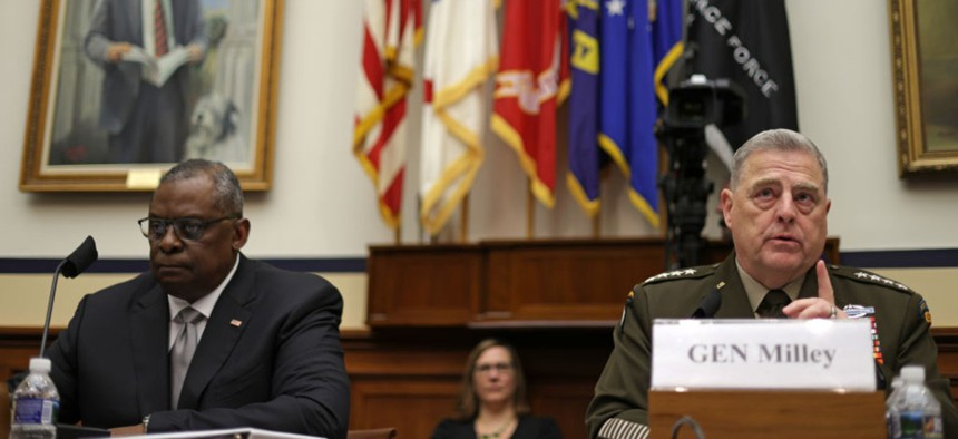 U.S. Secretary of Defense Lloyd Austin (L) and Chairman of the Joint Chiefs of Staff General Mark Milley (R) testify during a hearing before the House Committee on Armed Services at Rayburn House Office Building June 23, 2021 on Capitol Hill in Washington, DC.
