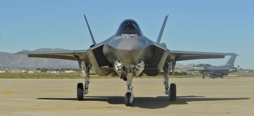 An F-35 Lightning II on display at Luke Air Force Base, Arizona.