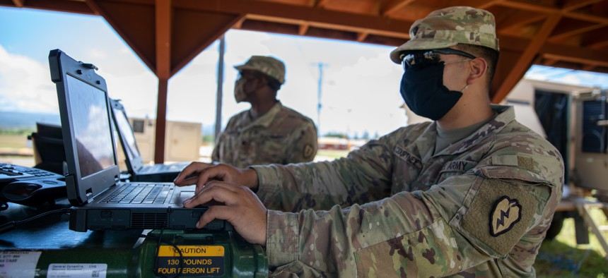 Army Spc. Javon Courtney, a Nodal Network System operator-maintainer with the 73rd Signal Company, Sustainment Troops Battalion, 25th Infantry Division Sustainment Brigade, 25th Infantry Division, ensures that his equipment is online during a training exercise on Schofield Barracks, Hawaii, April 22, 2021.