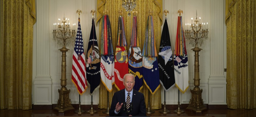 President Joe Biden speaks during an East Room event on troop withdrawal from Afghanistan at the White House July 8, 2021 in Washington, DC.