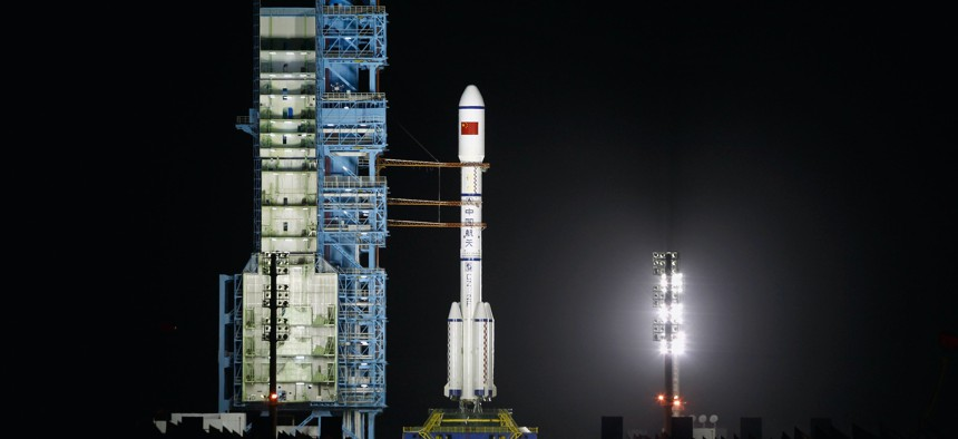 A Long March 2F rocket carrying China's first space laboratory module Tiangong-1 before lifts off from the Jiuquan Satellite Launch Center on September 29, 2011 in China.