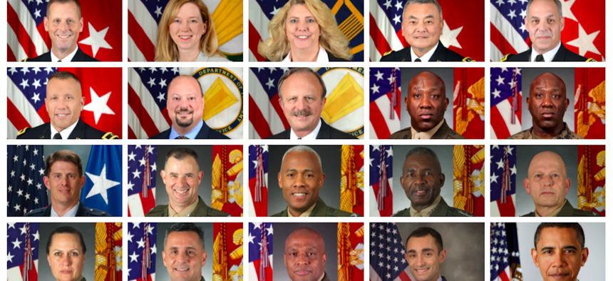 A series of official portraits, courtesy of the U.S. Defense Departments
