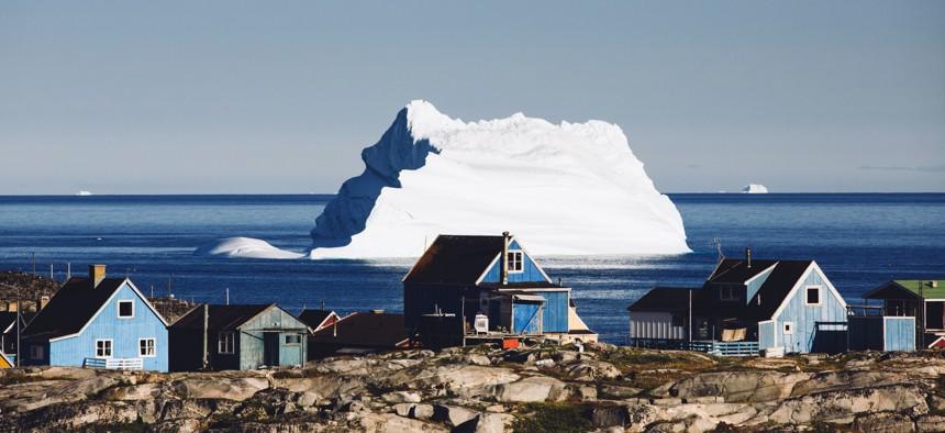 An iceberg floats off Greenland.