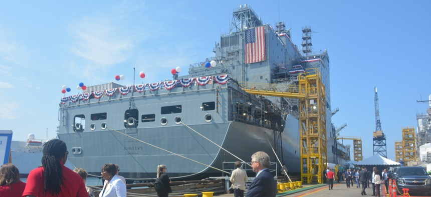 Fleet replenishment oiler USNS John Lewis was christened during a ceremony at the General Dynamics NASSCO shipyard in San Diego, Calif., July 17, 2021.