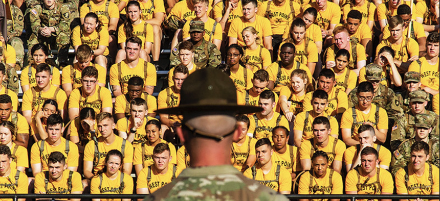U.S. Military Academy cadet cadre members listen to remarks at Shea Stadium in West Point, N.Y., June 18, 2021.