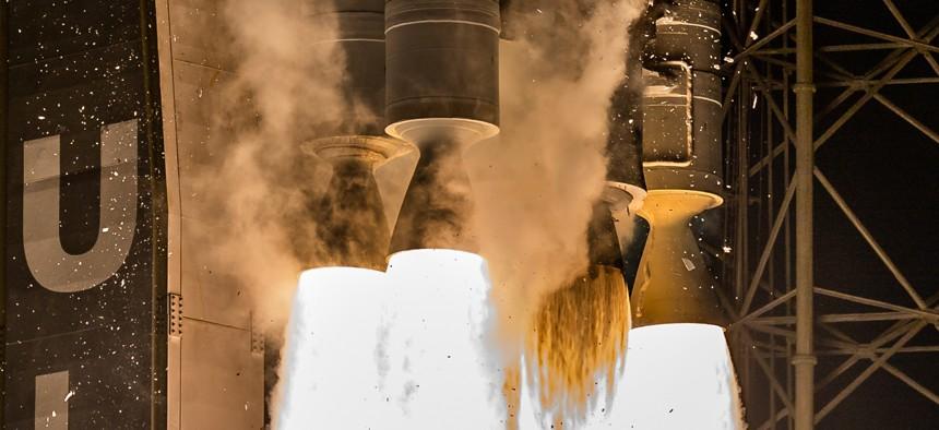 The engines of the Atlas V rocket during liftoff, Nov. 13, 2020.