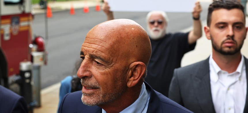 Thomas Barrack, a close adviser to former President Donald Trump and chair of his inaugural committee, arrives for a court appearance at the U.S. District Court of Eastern District of New York on July 26, 2021.