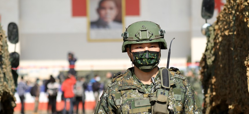 The Taiwan Ministry of National Defence holds the National Army Lunar New Year's Military Drill for Preparedness Enhancement 2021 in Hsinchu, Taiwan, on January 19, 2021.