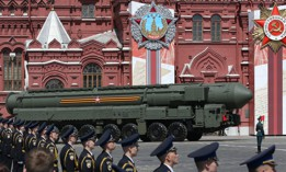 Russian nuclear missile rolls along Red Square during the military parade marking the 75th anniversary of Nazi defeat, on June 24, 2020, in Moscow, Russia.
