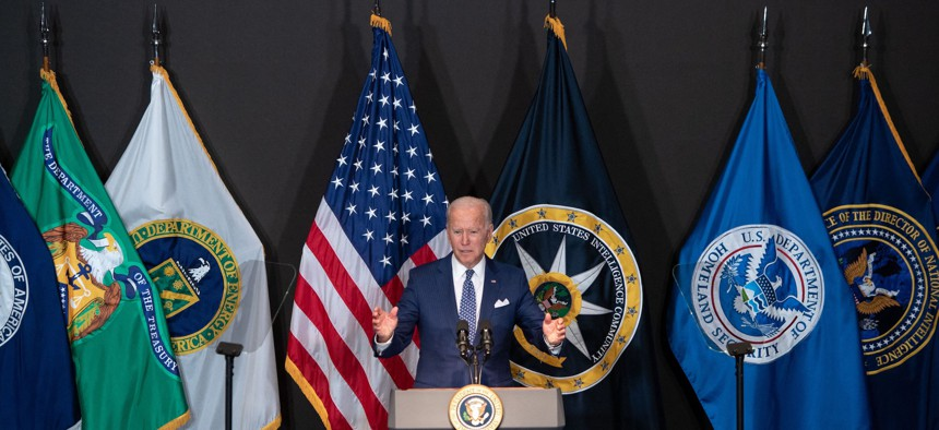 US President Joe Biden addresses the Intelligence Community workforce and its leadership while on a tour at the Office of the Director of National Intelligence in McLean, Virginia, on July 27, 2021.